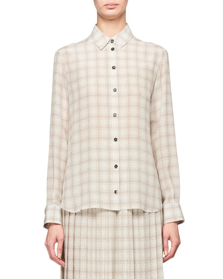 THE ROW Jonas Squiggle Print Button-Front Silk Shirt