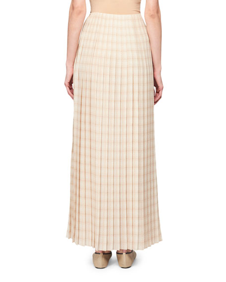 THE ROW Tulu Pleated Plaid Maxi Skirt