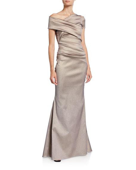 Talbot Runhof Asymmetric Draped Waist Gown