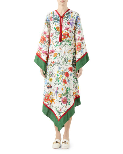 Long Flora Linen Caftan Dress