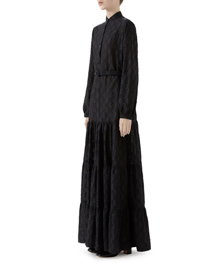 Gucci Micro GG Jacquard Maxi Shirtdress