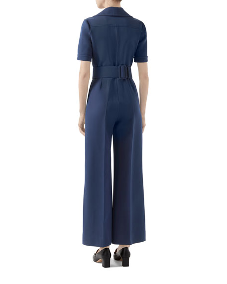 Gucci Wool-Silk Belted Jumpsuit