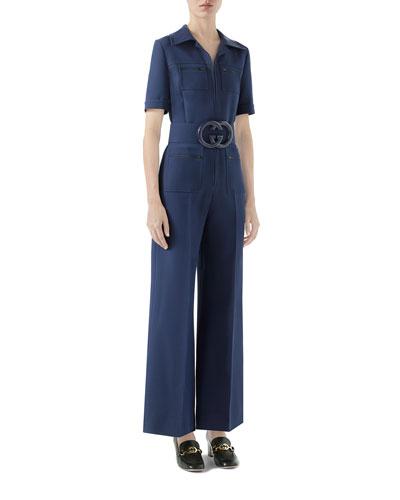 Wool-Silk Belted Jumpsuit