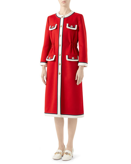 Gucci Long-Sleeve Contrast Tiger Head Midi Coat