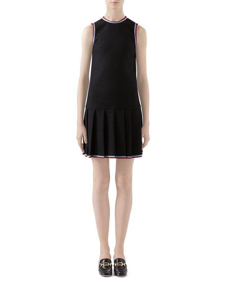 Gucci Ribbon-Trim Pleated Dress