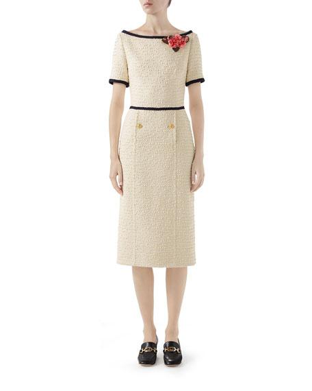 Gucci Short-Sleeve Tweed Midi Dress