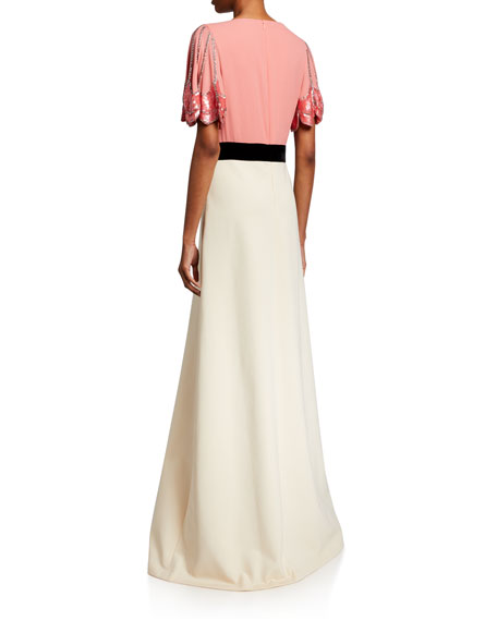 Gucci Petal Sleeve Deep V-Neck Gown