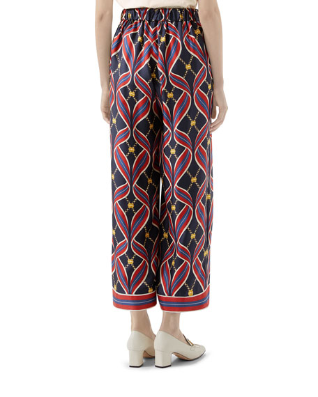 Gucci Interlocking G Ribbon-Print Pajama Pants