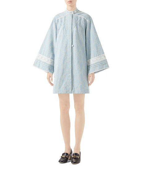 Gucci Oversize Embroidered Denim Dress