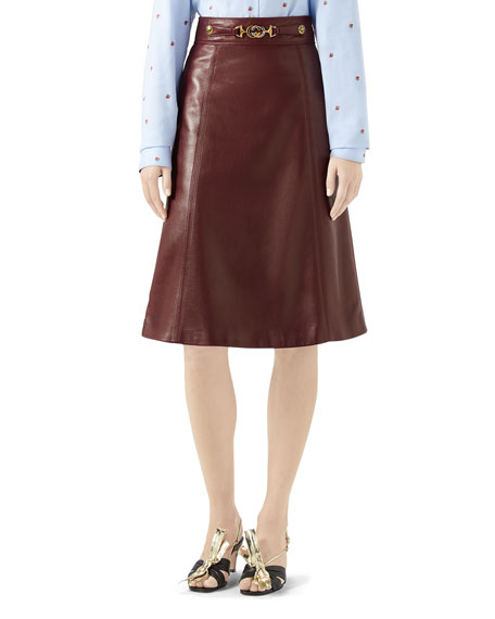 Gucci Logo-Belted Plonge Leather Skirt