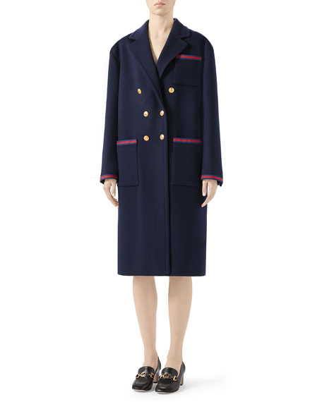 Gucci Double-Breasted Wool Coat with Ribbon Detail