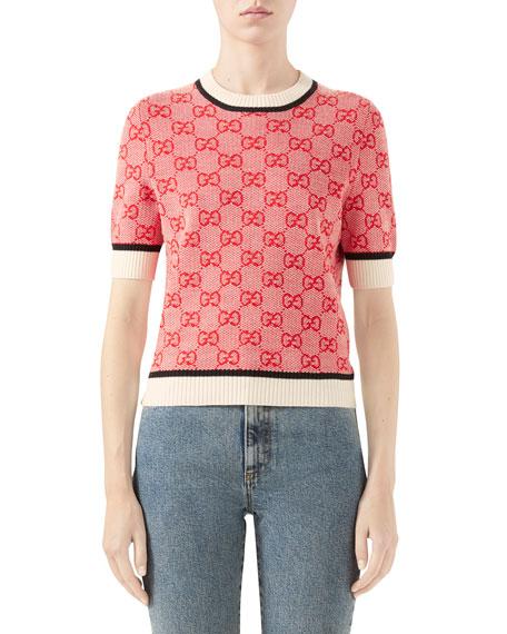 Gucci Short-Sleeve Crewneck GG Sweater
