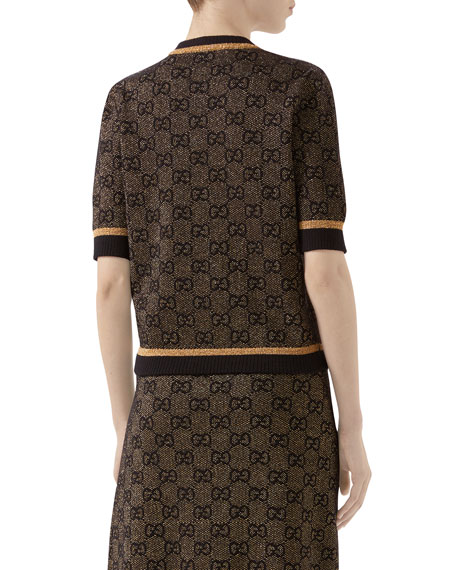 Gucci 1/2-Sleeve Shimmer GG Wool Sweater