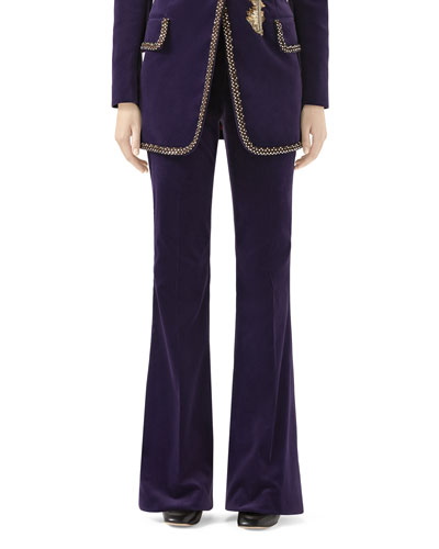 Matte Stretch-Velvet Flared Pants