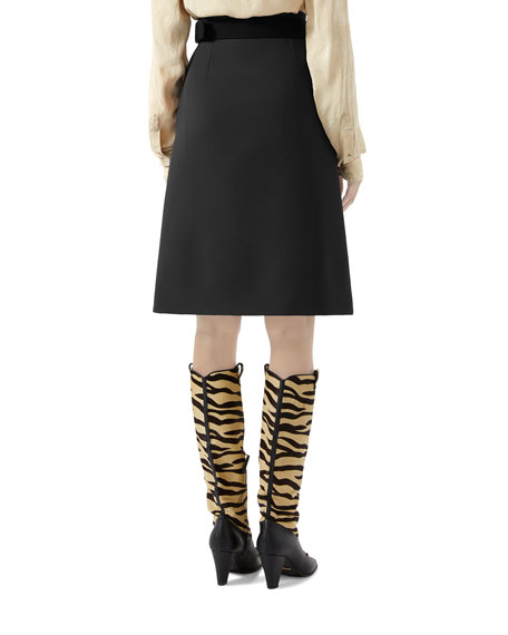 Image 2 of 2: Gucci Knee Length Cady Crepe Skirt w/ GG Belt