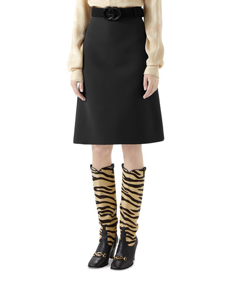 Image 1 of 2: Gucci Knee Length Cady Crepe Skirt w/ GG Belt