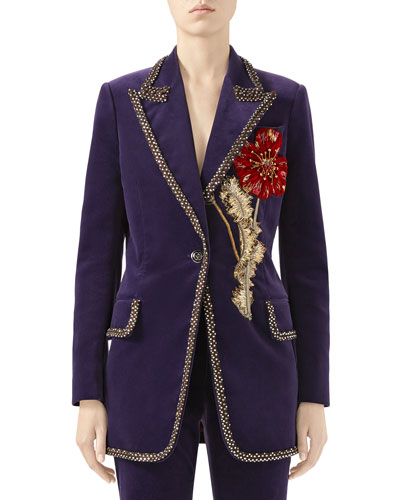 Matte Stretch-Velvet Jacket with Embroidered Flower