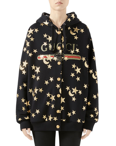 Star-Print Heavy Jersey Sweatshirt with Logo