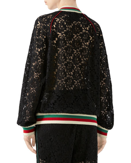 2a33885fd Gucci Flower Lace Bomber Jacket | Neiman Marcus
