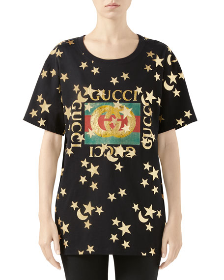 Gucci Crewneck Short-Sleeve Cotton T-Shirt with Star Logo