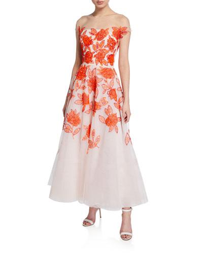 Genevieve Embroidered Tea Length Illusion Dress