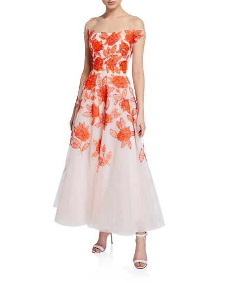 Ahluwalia Genevieve Embroidered Tea Length Illusion Dress
