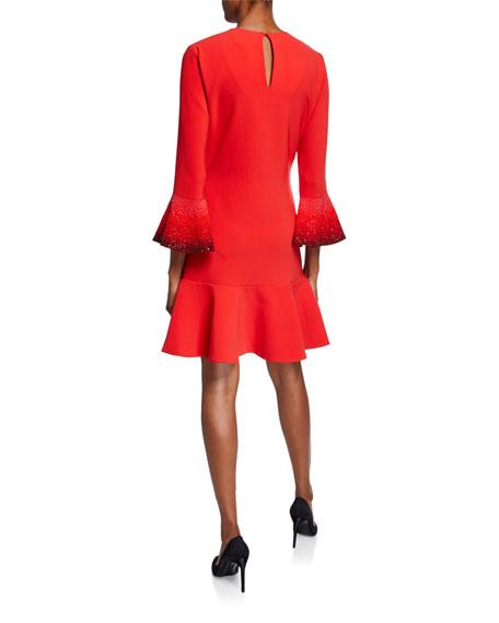 Ahluwalia Madeleine Jeweled Flare-Cuff Dress