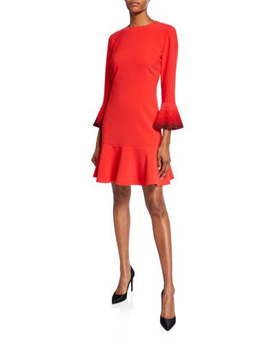 Madeleine Jeweled Flare-Cuff Dress