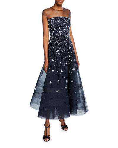 Gwyneth Sheer Cap-Sleeve Dress