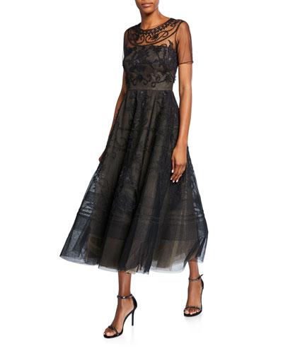 Evelyn Short-Sleeve Floral Dress