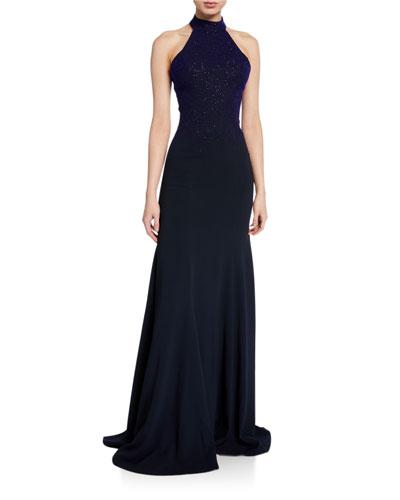 Eva Ombre Shimmered Halter-Neck Gown