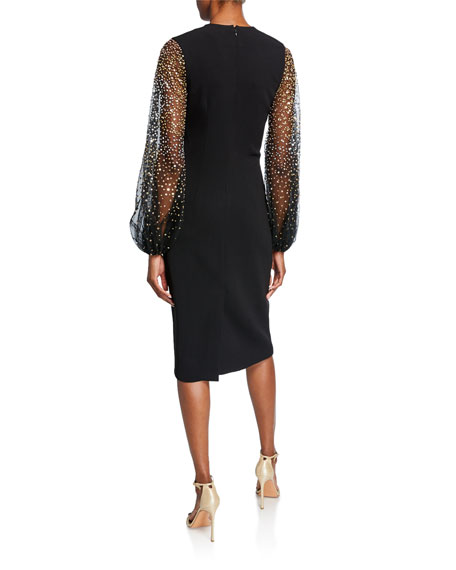 Ahluwalia Caroline Embellished Chiffon-Sleeve Sheath Dress