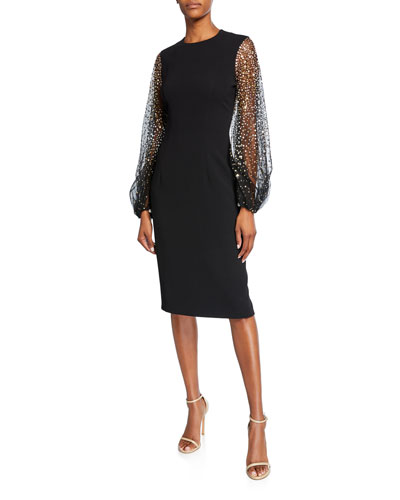 Caroline Embellished Chiffon-Sleeve Sheath Dress