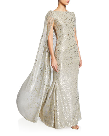 Talbot Runhof Spotted Shimmer Crepe Cape Gown