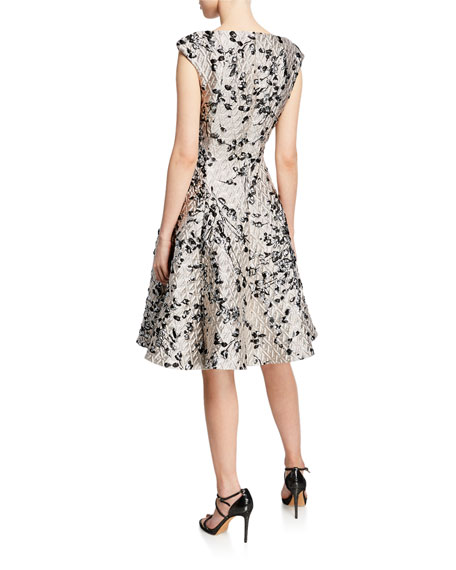 Talbot Runhof Floral Brocade Fit & Flare Dress
