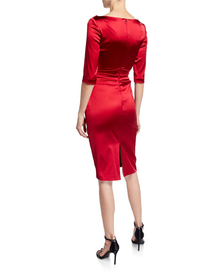 Talbot Runhof Stretch Satin V-Neck Dress
