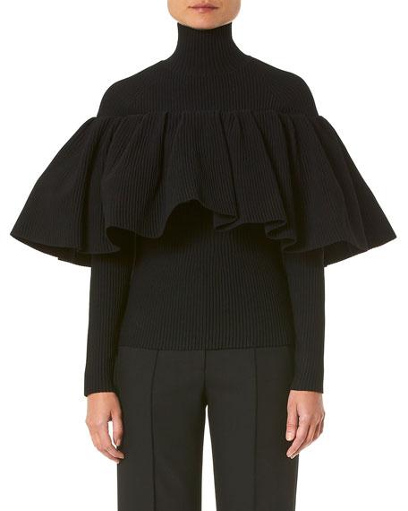 Carolina Herrera Mock-Neck Knit Top w/ Ruffle Overlay