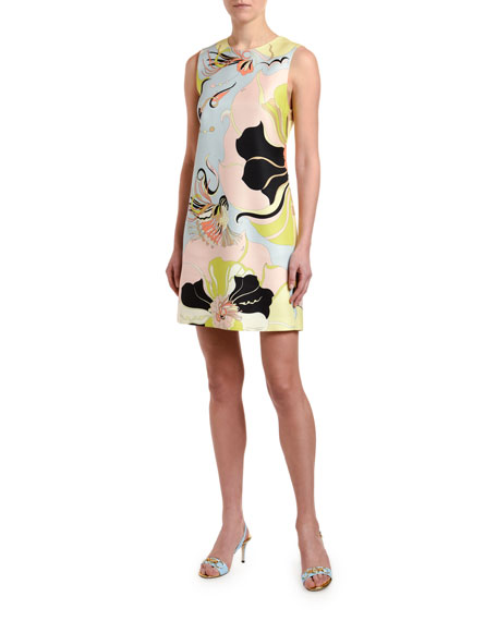 Emilio Pucci Sleeveless Mirabilis Floral-Print Dress