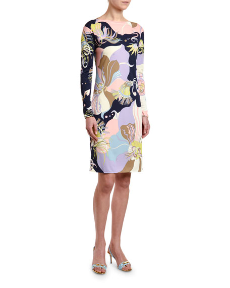 Emilio Pucci Marilyn Long-Sleeve Floral Print Dress