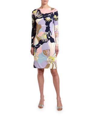 e43ac02ba34f Emilio Pucci Marilyn Long-Sleeve Floral Print Dress