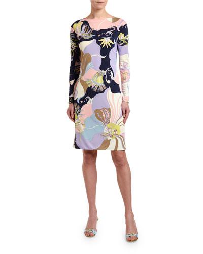 Marilyn Long-Sleeve Floral Print Dress