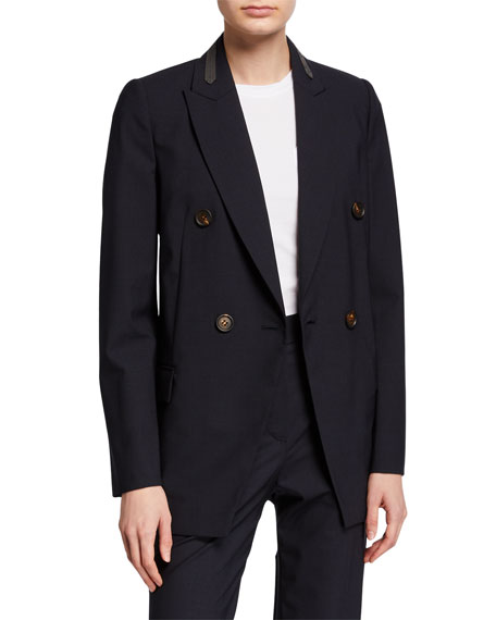 Brunello Cucinelli Monili-Collar Wool Blazer Jacket