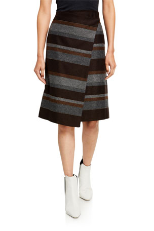 Brunello Cucinelli Blanket-Striped Skirt