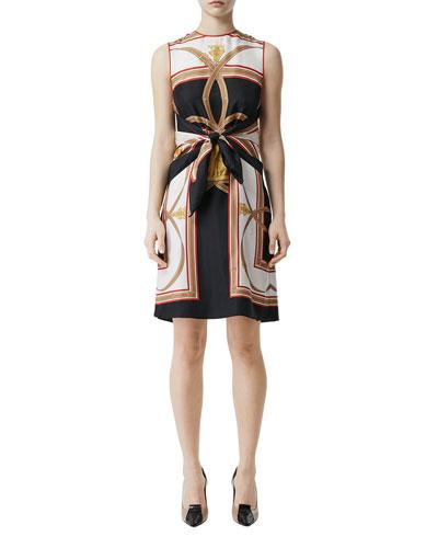 Scarf-Print Silk Tie-Waist Dress