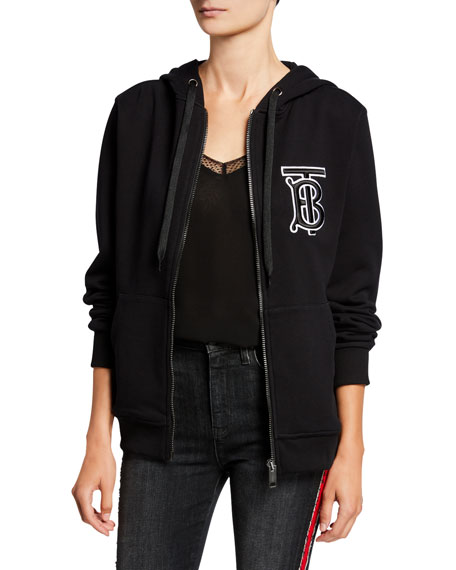 Burberry Tb Logo Patch Hoodie Black Neiman Marcus