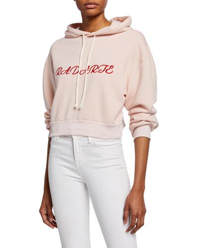 Radarte Embroidered Crop Hoodie Sweatshirt