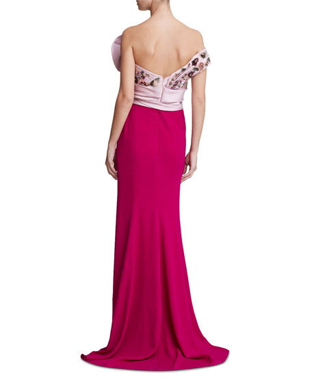 Marchesa Strapless Embroidered Satin-Bodice Gown
