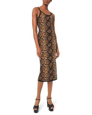 Michael Kors Collection Stretch Metallic Python Slip Dress