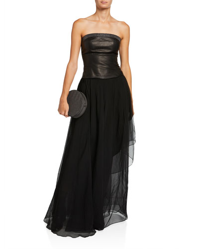 Strapless Chiffon Leather-Bodice Gown