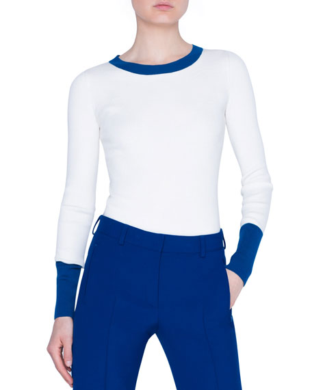 Akris punto Contrast Trimmed Stretch-Wool Pullover